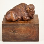 Bison, Cocobolo wood, 7x4x4, 1998. From a plastilene study made at the National Zoo. The wood was a gift from Nathaniel Burwash of Cambridge, Massachusetts.