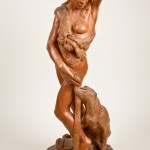 Diana, black locust, 38x14x14, 1996. Carved at the Art Students League from a log taken from Central Park.