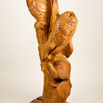 "Two Owls, red maple, 47""x18""x12"", 2012."