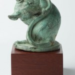Mouse, bronze, 4x4x3, cast from 1995 plaster modeled from life (pet mice in Manhattan).